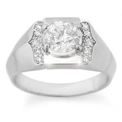 1.65 CTW Certified VS/SI Diamond Men's Ring 14K White Gold - REF-606N8Y - 14489
