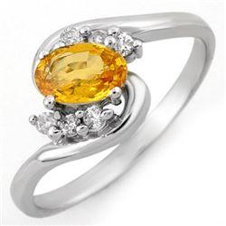 0.70 CTW Yellow Sapphire & Diamond Ring 14K White Gold - REF-24T8M - 10421