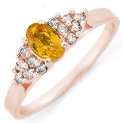 0.74 CTW Yellow Sapphire & Diamond Ring 10K Rose Gold - REF-22T4M - 10682