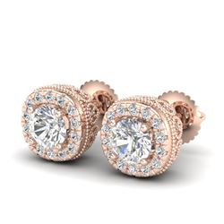 1.69 CTW VS/SI Diamond Solitaire Art Deco Stud Earrings 18K Rose Gold - REF-263F6N - 37119