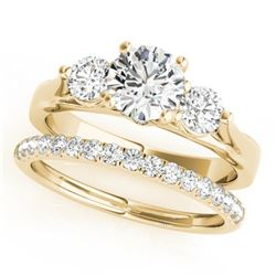 1.67 CTW Certified VS/SI Diamond 3 Stone 2Pc Wedding Set 14K Yellow Gold - REF-255N6Y - 32032