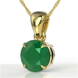 2 CTW Emerald Designer Inspired Solitaire Necklace 18K Yellow Gold - REF-24Y9K - 22021