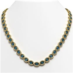 33.25 CTW London Topaz & Diamond Halo Necklace 10K Yellow Gold - REF-511N3Y - 40438