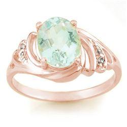 2.04 CTW Aquamarine & Diamond Ring 14K Rose Gold - REF-39M3H - 11552