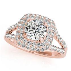 1.53 CTW Certified VS/SI Diamond Solitaire Halo Ring 18K Rose Gold - REF-239K3W - 26465