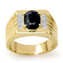 3.76 CTW Blue Sapphire & Diamond Men's Ring 10K Yellow Gold - REF-73F8N - 13516