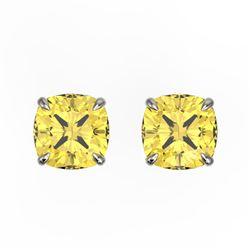3 CTW Cushion Cut Citrine Designer Solitaire Stud Earrings 18K White Gold - REF-29H3A - 21738