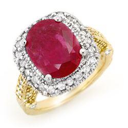 9.40 CTW Ruby & Diamond Ring 14K 2-Tone Gold - REF-180M2H - 13444