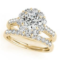 2.14 CTW Certified VS/SI Diamond 2Pc Wedding Set Solitaire Halo 14K Yellow Gold - REF-259F5N - 30740
