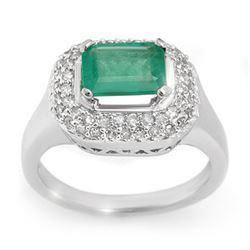 1.90 CTW Emerald & Diamond Ring 14K White Gold - REF-55W8F - 10620
