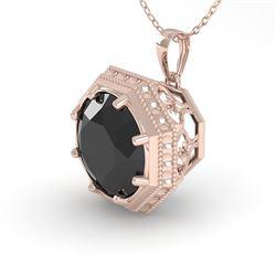 1 CTW Black Diamond Solitaire Necklace 18K Rose Gold - REF-50N9Y - 35996