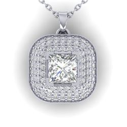 1.60 CTW Princess VS/SI Diamond Art Deco Stud Micro Halo Necklace 14K White Gold - REF-428Y2K - 3045