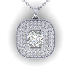 1.60 CTW Princess VS/SI Diamond Art Deco Stud Micro Halo Necklace 14K White Gold - REF-428Y2K - 3045
