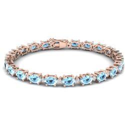 15.9 CTW Aquamarine & VS/SI Certified Diamond Eternity Bracelet 10K Rose Gold - REF-165N3Y - 29361