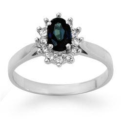 0.70 CTW Blue Sapphire & Diamond Ring 14K White Gold - REF-26A4X - 14232