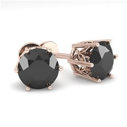 2.0 CTW Black Certified Diamond Stud Solitaire Earrings 18K Rose Gold - REF-64Y8K - 35849