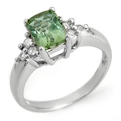 2.55 CTW Green Tourmaline & Diamond Ring 10K White Gold - REF-45H8A - 10334