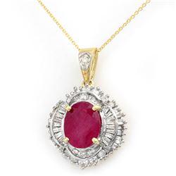 6.26 CTW Ruby & Diamond Pendant 14K Yellow Gold - REF-180K2W - 13029