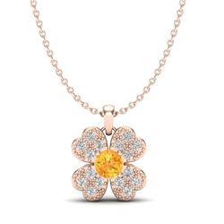 0.27 CTW Citrine & Micro Pave VS/SI Diamond Necklace 14K Rose Gold - REF-21W3F - 20355