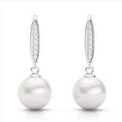 0.18 CTW Micro VS/SI Diamond & White Pearl Designer Earrings 18K White Gold - REF-34H5A - 22636
