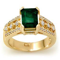 2.75 CTW Emerald & Diamond Ring 14K Yellow Gold - REF-78M2H - 11930