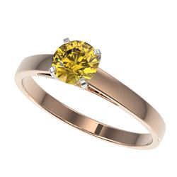 0.74 CTW Certified Intense Yellow SI Diamond Solitaire Engagement Ring 10K Rose Gold - REF-92W5F - 3