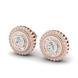 2.61 CTW VS/SI Diamond Solitaire Art Deco Stud Earrings 18K Rose Gold - REF-381F8N - 37083
