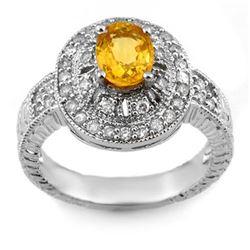 2.08 CTW Yellow Sapphire & Diamond Ring 14K White Gold - REF-72F2N - 10787