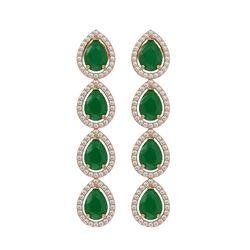 10.2 CTW Emerald & Diamond Halo Earrings 10K Rose Gold - REF-155K5W - 41139