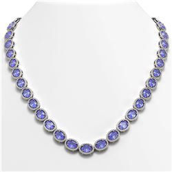 48.65 CTW Tanzanite & Diamond Halo Necklace 10K White Gold - REF-797M3H - 40562