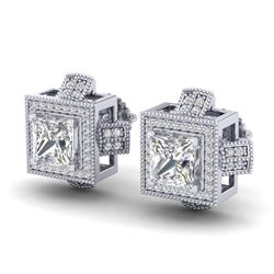 2.75 CTW Princess VS/SI Diamond Micro Pave Stud Earrings 18K White Gold - REF-684Y3K - 37187