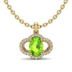 1.75 CTW Peridot & Micro Pave VS/SI Diamond Necklace 10K Yellow Gold - REF-33T5M - 20638