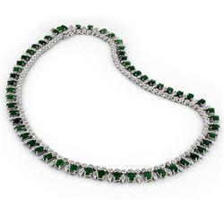 26 CTW Emerald & Diamond Necklace 14K White Gold - REF-709Y3K - 11640