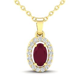 0.51 CTW Ruby & Micro Pave VS/SI Diamond Necklace Halo 18K Yellow Gold - REF-33K5W - 21326