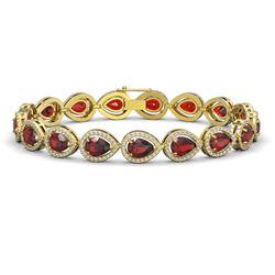17.44 CTW Garnet & Diamond Halo Bracelet 10K Yellow Gold - REF-272X2T - 41137