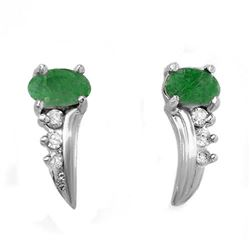 0.60 CTW Emerald & Diamond Earrings 18K White Gold - REF-23N3Y - 13744