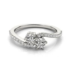 1 CTW Certified VS/SI Diamond 2 Stone Solitaire Ring 18K White Gold - REF-135K8W - 28242