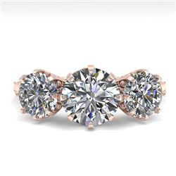 2 CTW Past Present Future Certified VS/SI Diamond Ring 18K Rose Gold - REF-414W2F - 35774