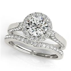 1.54 CTW Certified VS/SI Diamond 2Pc Wedding Set Solitaire Halo 14K White Gold - REF-227K8W - 30828