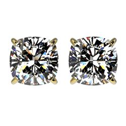 2 CTW Certified VS/SI Quality Cushion Cut Diamond Stud Earrings 10K Yellow Gold - REF-585H2A - 33099