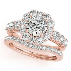 3.16 CTW Certified VS/SI Diamond 2Pc Wedding Set Solitaire Halo 14K Rose Gold - REF-592K5W - 30727