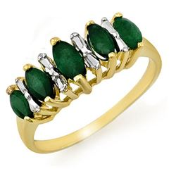 0.70 CTW Emerald Ring 10K Yellow Gold - REF-17X6T - 12655