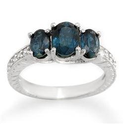 3.25 CTW Blue Sapphire & Diamond Ring 14K White Gold - REF-56W5F - 10763