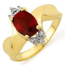 1.79 CTW Ruby & Diamond Ring 10K Yellow Gold - REF-19F3N - 10278