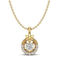 0.21 CTW Micro Pave VS/SI Diamond Halo Necklace 18K Yellow Gold - REF-26W4F - 20365
