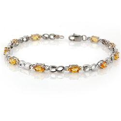 3.51 CTW Yellow Sapphire & Diamond Bracelet 18K White Gold - REF-57X6T - 11036
