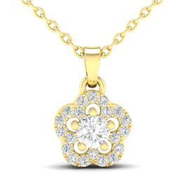 0.28 CTW VS/SI Diamond Micro Pave VS/SI Diamond Necklace Moon Halo 10K Yellow Gold - REF-23H8A - 213