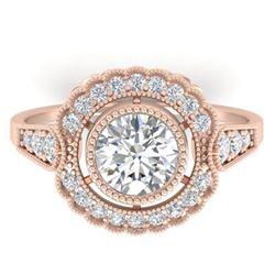 1.55 CTW Certified VS/SI Diamond Solitaire Art Deco Ring 14K Rose Gold - REF-367X3T - 30538