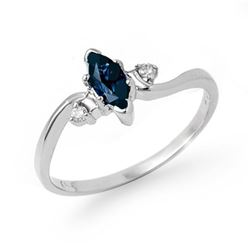 0.42 CTW Blue Sapphire & Diamond Ring 14K White Gold - REF-18W4F - 13191