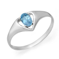 0.25 CTW Blue Topaz Ring 10K White Gold - REF-9A3X - 12410